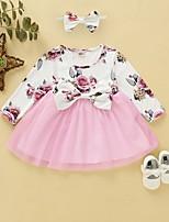 cheap -Baby Girls' Street chic Floral Long Sleeve Regular Cotton Clothing Set Blushing Pink / Toddler