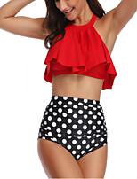 cheap -Women's Basic White Orange Red Halter Cheeky Tankini Swimwear Swimsuit - Geometric Ruffle Print S M L White