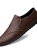 cheap -Men's Comfort Shoes Cowhide Fall & Winter Loafers & Slip-Ons Black / Brown / Dark Brown