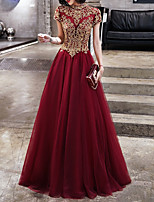 cheap -A-Line Jewel Neck Sweep / Brush Train Polyester Chinese Style Formal Evening / Holiday Dress 2020 with Appliques / Tier