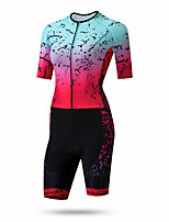 cheap -21Grams Women's Short Sleeve Triathlon Tri Suit Pink / Black Gradient Bike Clothing Suit UV Resistant Breathable Quick Dry Sweat-wicking Sports Gradient Mountain Bike MTB Road Bike Cycling Clothing