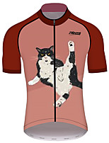 cheap -21Grams Women's Short Sleeve Cycling Jersey 100% Polyester Red / White Cat Animal Bike Jersey Top Mountain Bike MTB Road Bike Cycling UV Resistant Breathable Quick Dry Sports Clothing Apparel