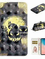 cheap -Case For Samsung Galaxy S9 / S9 Plus / S8 Plus Wallet / Card Holder / with Stand Full Body Cases Skull PU Leather For Galaxy S8/S10/S10 Plus/S10E/S7/S7 Edge