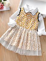 cheap -Kids Girls' Basic Birthday Party Thanksgiving Sun Flower Solid Colored Print Sleeveless Long Sleeve Regular Regular Clothing Set Yellow