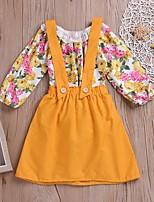 cheap -Baby Girls' Basic Floral Long Sleeve Regular Clothing Set Yellow
