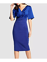 cheap -Sheath / Column V Neck Tea Length Polyester Hot / Blue Cocktail Party / Wedding Guest Dress with Buttons 2020