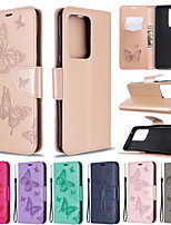 cheap -Case For Samsung Galaxy S20 S20 Plus Phone Case PU Leather Material Butterfly Pattern Solid Color Pattern Phone Case for Galaxy S10 S10 Plus S20 Ultrs S9 Plus S9