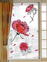 cheap -Fashion Roses Window Film & Stickers Decoration Matte / Floral Floral / Flower / Floral PVC(PolyVinyl Chloride) Window Sticker / Matte / Door Sticker