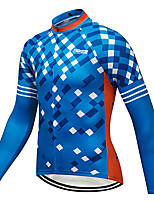 cheap -21Grams Men's Long Sleeve Cycling Jersey Winter 100% Polyester Blue Geometic Bike Jersey Top Mountain Bike MTB Road Bike Cycling Thermal / Warm UV Resistant Breathable Sports Clothing Apparel