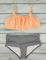 cheap -Women's Basic Blushing Pink Halter Cheeky Bikini Tankini Swimwear Swimsuit - Striped Solid Colored Ruffle Print S M XL Blushing Pink