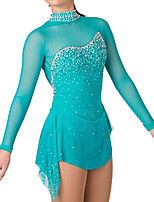cheap -Figure Skating Dress Women's Girls' Ice Skating Dress Green Patchwork Spandex High Elasticity Training Competition Skating Wear Crystal / Rhinestone Long Sleeve Ice Skating Figure Skating