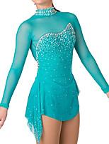 abordables -Robe de Patinage Artistique Femme Fille Patinage Robes Vert Mosaïque Spandex Haute élasticité Entraînement Compétition Tenue de Patinage Cristal / Stras Manches Longues Patinage sur glace Patinage