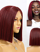 cheap -Synthetic Lace Front Wig Silky Straight Middle Part Lace Front Wig Short Dark Red Synthetic Hair 8-16 inch Women's Soft Heat Resistant Synthetic Red / Natural Hairline