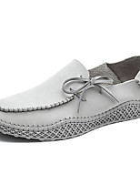 cheap -Men's Moccasin Cowhide Spring & Summer / Fall & Winter Casual / British Loafers & Slip-Ons Walking Shoes Waterproof Gray / Khaki