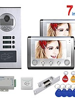 cheap -7 Inch 2 Apartment/Family Video Door Phone Intercom System RFID 1000TVL  Doorbell Camera NO Electric Strike Door Lock