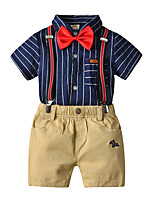 cheap -Kids Toddler Boys' Basic Birthday Party Party & Evening Horse Striped Embroidered Short Sleeve Regular Regular Clothing Set Royal Blue