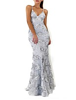 cheap -Mermaid / Trumpet Spaghetti Strap Sweep / Brush Train Polyester Beautiful Back Engagement / Prom / Wedding Guest Dress 2020 with Sequin