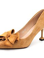 abordables -Femme Chaussures à Talons Talon Aiguille Bout pointu Noeud Matière synthétique Doux / Britanique Automne / Printemps été Noir / Jaune / Rouge