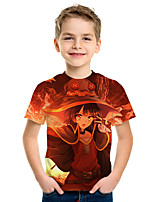 cheap -Kids Boys' Active Street chic 3D Print Short Sleeve Tee Orange