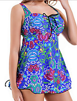 cheap -Women's Black Light Blue Blue Bikini Swimwear Swimsuit - Floral L XL XXL Black