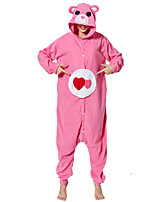 cheap -Adults' Kigurumi Pajamas Bear Onesie Pajamas Flannelette Pink Cosplay For Men and Women Animal Sleepwear Cartoon Festival / Holiday Costumes