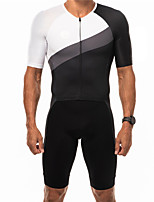 cheap -21Grams Men's Short Sleeve Triathlon Tri Suit Blue / White Black / White Patchwork Bike Clothing Suit UV Resistant Breathable Quick Dry Sweat-wicking Sports Patchwork Mountain Bike MTB Road Bike