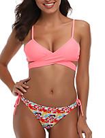 cheap -Women's Basic Blushing Pink Triangle Thong Bikini Swimwear - Color Block Lace up Print S M L Blushing Pink