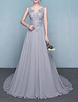 cheap -A-Line V Neck Chapel Train Polyester Elegant Engagement / Formal Evening Dress 2020 with Appliques / Crystals