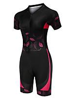 cheap -21Grams Women's Short Sleeve Triathlon Tri Suit Black / Red Floral Botanical Bike Clothing Suit UV Resistant Breathable Quick Dry Sweat-wicking Sports Floral Botanical Mountain Bike MTB Road Bike