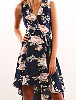 cheap -Women's Elegant Sheath Dress - Geometric Navy Blue S M L XL