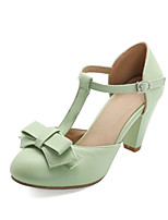cheap -Women's Heels Cone Heel Round Toe PU Spring &  Fall Black / Green / Beige