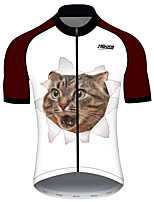 cheap -21Grams Women's Short Sleeve Cycling Jersey 100% Polyester Titanium Cat Animal Bike Jersey Top Mountain Bike MTB Road Bike Cycling UV Resistant Breathable Quick Dry Sports Clothing Apparel / Stretchy