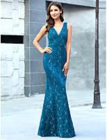 cheap -Mermaid / Trumpet V Neck Floor Length Lace Vintage / Elegant Engagement / Formal Evening Dress 2020 with