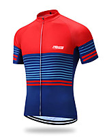 cheap -21Grams Men's Short Sleeve Cycling Jersey 100% Polyester Red+Blue Geometic Bike Jersey Top Mountain Bike MTB Road Bike Cycling UV Resistant Breathable Quick Dry Sports Clothing Apparel / Stretchy