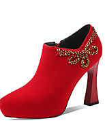 cheap -Women's Heels Chunky Heel Round Toe Rhinestone Suede Classic Spring &  Fall Black / Red / Wedding / Party & Evening
