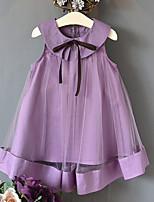 cheap -Kids Girls' Solid Colored Dress Purple