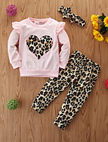 cheap -Baby Girls' Basic Leopard Long Sleeve Regular Regular Clothing Set Blushing Pink