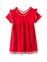 cheap -Kids Girls' Cute Street chic Solid Colored Patchwork Short Sleeve Knee-length Dress Red