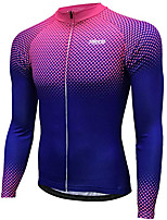cheap -21Grams Men's Long Sleeve Cycling Jersey Winter 100% Polyester Violet Gradient Bike Jersey Top Mountain Bike MTB Road Bike Cycling Thermal / Warm UV Resistant Breathable Sports Clothing Apparel