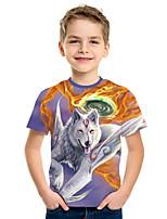 cheap -Kids Boys' Active Street chic Wolf 3D Print Short Sleeve Tee Rainbow