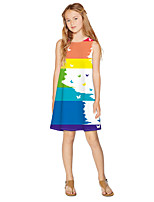 cheap -Kids Girls' Active Sweet Color Block Print Sleeveless Knee-length Dress Rainbow