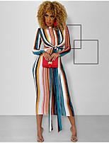 cheap -Women's Elegant Sheath Dress - Striped Blue S M L XL