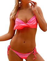 cheap -Women's Basic Blushing Pink Halter Cheeky Bikini Swimwear - Solid Colored Ruffle L XL XXL Blushing Pink