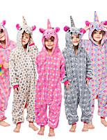 cheap -Kid's Kigurumi Pajamas Unicorn Onesie Pajamas Flannelette Purple / Yellow / Red Cosplay For Boys and Girls Animal Sleepwear Cartoon Festival / Holiday Costumes