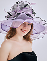 cheap -Queen Elizabeth Audrey Hepburn Retro Vintage Kentucky Derby Hat Fascinator Hat Women's Organza Costume Hat Purple / Yellow / Blue Vintage Cosplay Party Party Evening