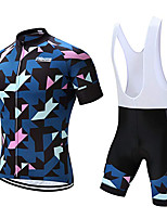 cheap -21Grams Men's Short Sleeve Cycling Jersey with Bib Shorts Polyester Bule / Black Geometic Bike Clothing Suit UV Resistant Breathable 3D Pad Quick Dry Sweat-wicking Sports Solid Color Mountain Bike