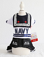 cheap -Dog Costume Jumpsuit Dog Clothes Breathable Black Costume Beagle Bichon Frise Chihuahua Jeans Quotes & Sayings Police / Military Jeans Cowboy Cool XS S M L XL