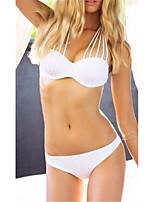 cheap -Women's Basic White Halter Cheeky Bikini Tankini Swimwear - Solid Colored XL White