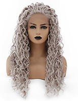 cheap -Synthetic Lace Front Wig Curly Minaj Middle Part Lace Front Wig Long Grey Synthetic Hair 22-26 inch Women's Heat Resistant Women Hot Sale Gray / Glueless