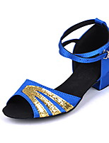 cheap -Women's Latin Shoes Suede Heel Thick Heel Dance Shoes Blue